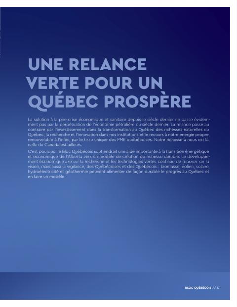 Plan de relance BQ - Environnement